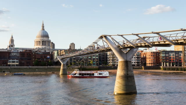 london - circa 2013: hyperlapse, hyper lapse, time lapse of millennium bridge and st. paul during the golden hour - 2013 stock videos & royalty-free footage