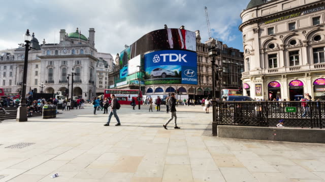 london - circa 2013: hyperlapse, hyper lapse, time lapse of piccadilly circus during the day - london england stock videos and b-roll footage