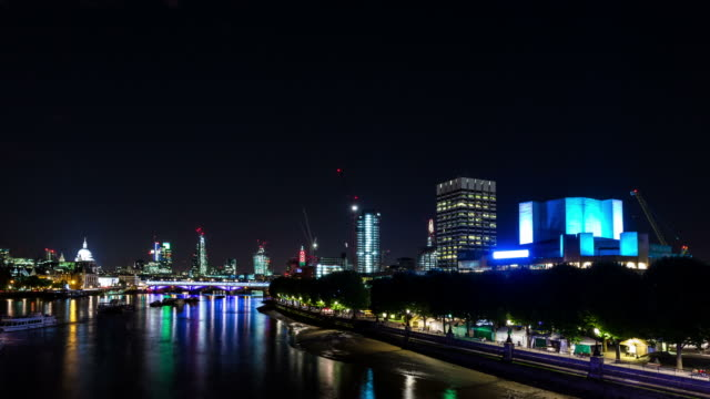 london - circa 2013: hyperlapse, hyper lapse, time lapse of southbank and national theater by night - 2013 stock videos & royalty-free footage