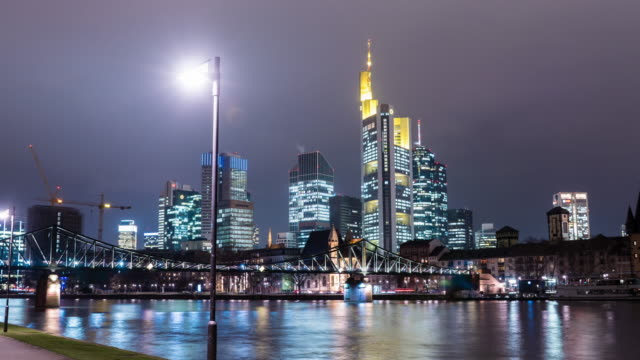hyperlapse in front of skyline at frankfurt am main - frankfurt main stock videos and b-roll footage