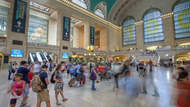 hyperlapse in grand central station - grand central station manhattan stock videos & royalty-free footage