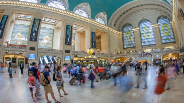 hyperlapse in grand central station - hyper lapse stock videos & royalty-free footage