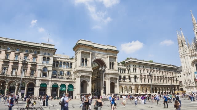 hyperlapse in milan - piazza del duomo milan stock videos and b-roll footage