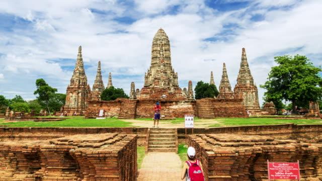vídeos y material grabado en eventos de stock de hyperlapse histórico old templo wat chaiwatthanaram - tailandés