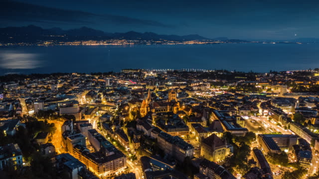 hyperlapse: lausanne cityscape in switzerland - hyper lapse stock videos & royalty-free footage