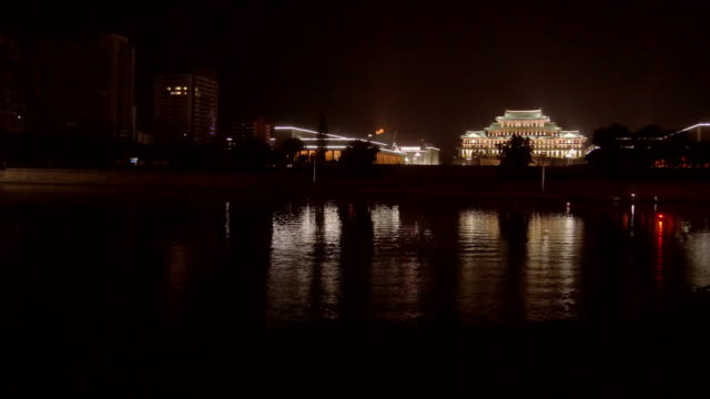 hyper-lapse of a boat-ride on taedong river in pyongyang, north korea, dprk.  passing by the grand people's study house. - spoonfilm stock videos and b-roll footage