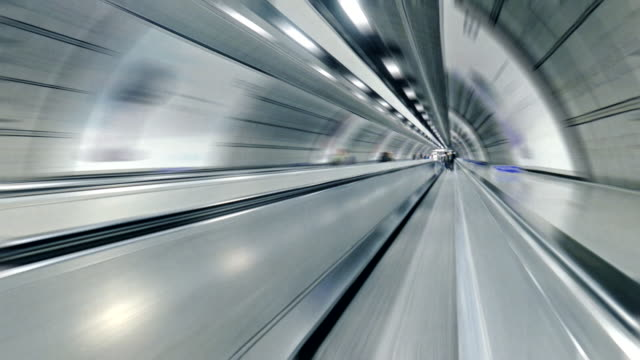 Hyper-lapse of a moving walkway or travelator