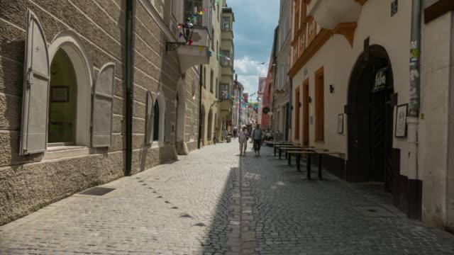 hyperlapse of a street in regensburg ratisbona germany - regensburg stock videos & royalty-free footage