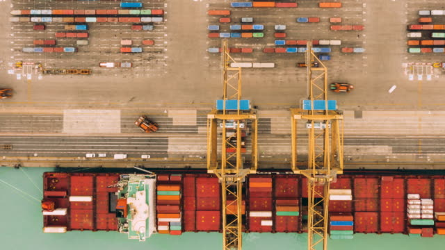 hyperlapse of aerial view of port working cargo container - above stock videos & royalty-free footage