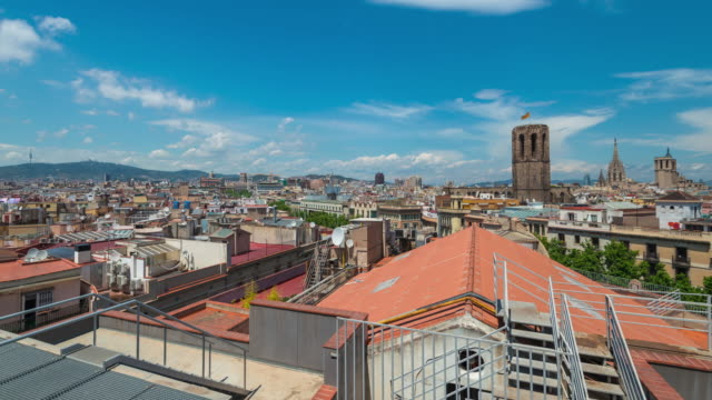 Hyperlapse of Barcelona Skyline with Zoom to Turret with Catalan Flag