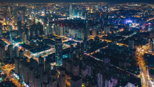 hyperlapse of city night view - elevated view stock videos & royalty-free footage