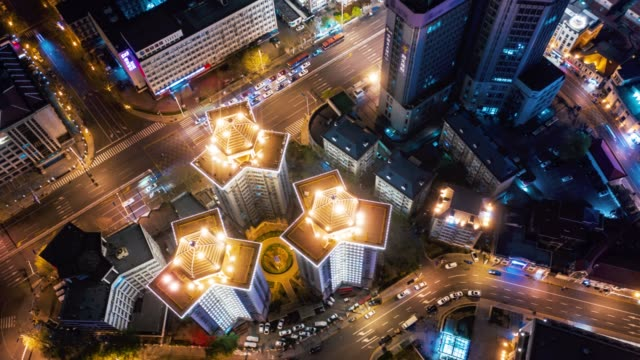 hyperlapse of city road cross - nanjing stock videos & royalty-free footage