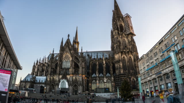 hyperlapse of cologne cathedral in germany - cathedral stock videos & royalty-free footage