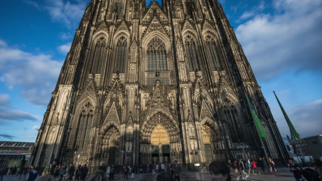 hyperlapse of cologne catherdral in germany -  4k cityscapes, landscapes & establishers - gothic style stock videos & royalty-free footage