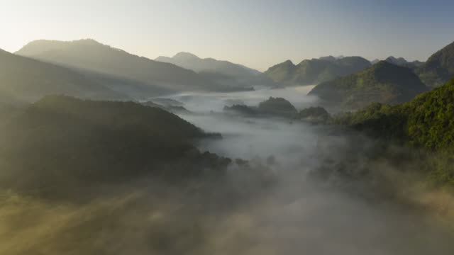 hyperlapse of fog in valley with sunrise - rainforest stock videos & royalty-free footage