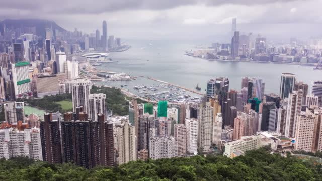 hyperlapse des stadtbildes von hongkong in der tageszeit - high dynamic range imaging stock-videos und b-roll-filmmaterial