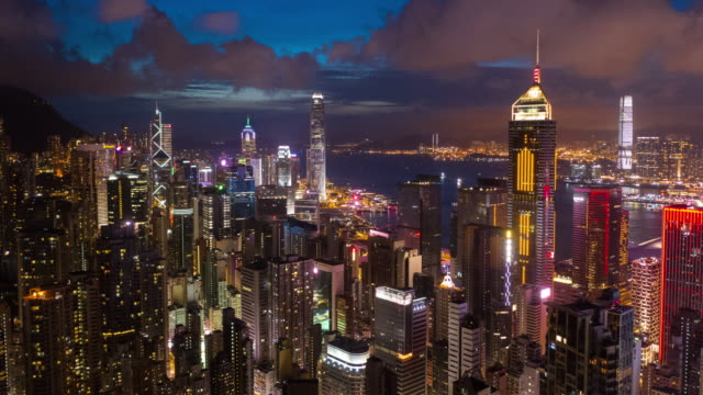 hyperlapse of hong kong skyscraper and cityscape in night time - victoria peak stock videos & royalty-free footage