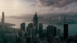 Hyperlapse of Hong Kong urban skyline in sunset time