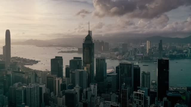 hyperlapse of hong kong urban skyline in sunset time - central district hong kong stock videos & royalty-free footage