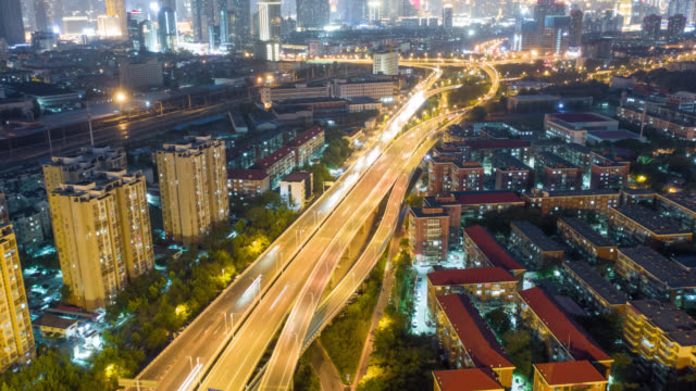 hyperlapse of overpass aerial view - liyao xie stock videos & royalty-free footage