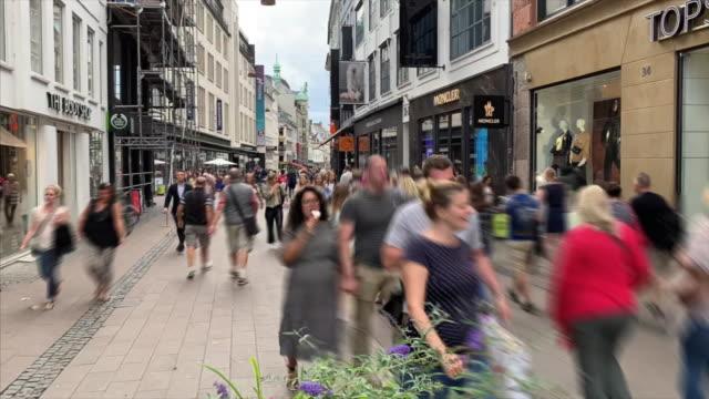 hyperlapse of pedestrian on strøget, copenhagen - town stock videos & royalty-free footage