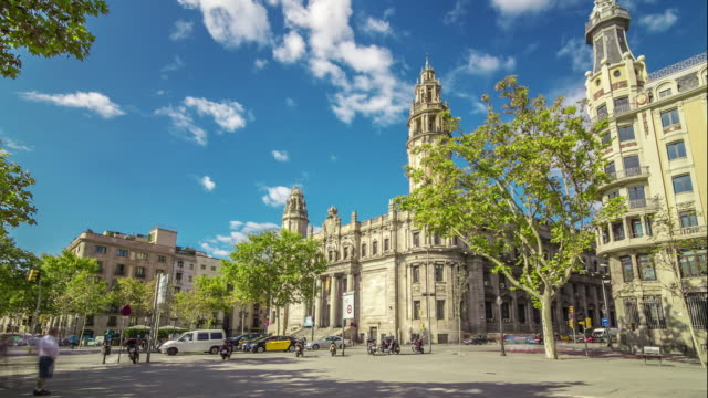 Hyperlapse of postal and telegraph building in Barcelona, Spain.