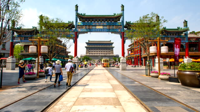t/l  ws hyperlapse of qianmen street in beijing, china. - vanishing point stock videos & royalty-free footage