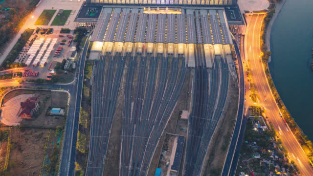 hyperlapse of railway station aerial view - railway track stock videos & royalty-free footage