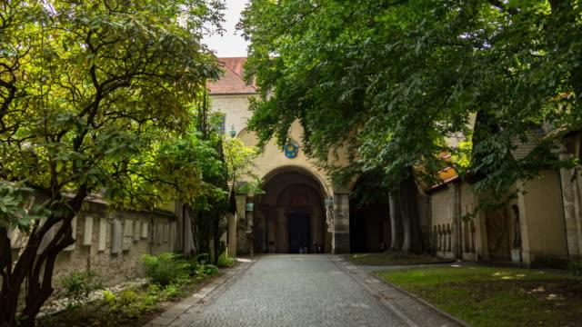 hyperlapse of regensburg ratisbona st emmerman basilika entrnace - regensburg stock videos & royalty-free footage