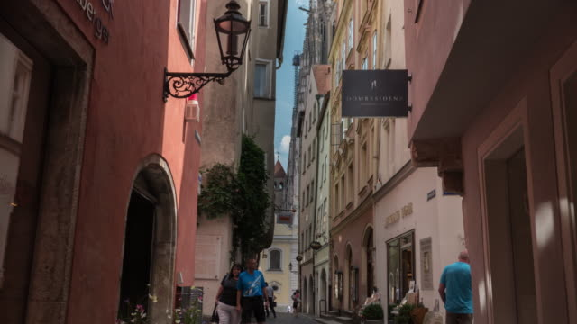 hyperlapse of regensburg street going to cathedral - regensburg stock videos & royalty-free footage