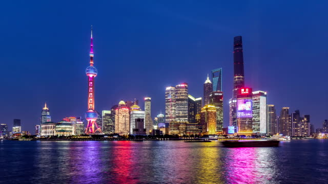 T/L WS Hyperlapse of Shanghai Dusk to Night Transition / Shanghai, China