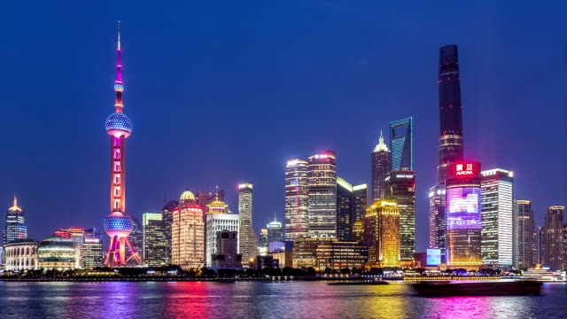 t/l ws zo hyperlapse of shanghai dusk to night transition / shanghai, china - pearl stock videos and b-roll footage