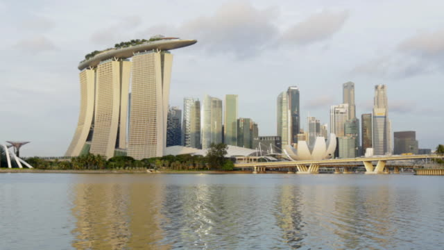 ws tl hyperlapse of singapore business district - marina bay sands stock videos and b-roll footage