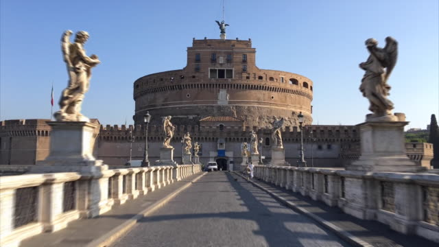 hyperlapse of the castel sant' angelo, roma - rome italy stock videos and b-roll footage
