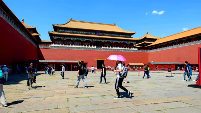 T/L WS Hyperlapse of the forbidden city against blue sky in Beijing,China