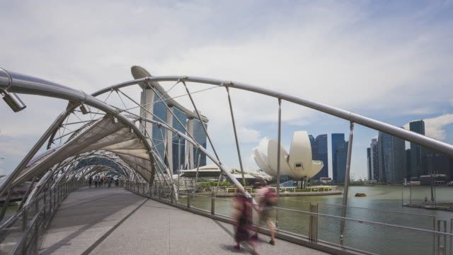 Hyperlapse of the Helix Bridge, Marina Bay Sand, Art Science Museum and the skyline at the Marina Bay in Singapore