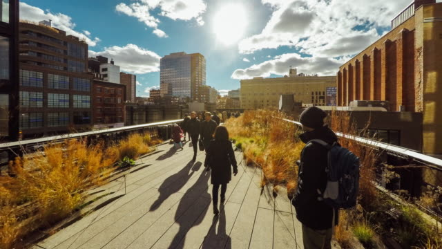 hyperlapse of the high line park in new york city - hyper lapse stock videos & royalty-free footage