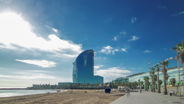 Hyperlapse of the modern hotel on the beach in Barcelona, Spain.