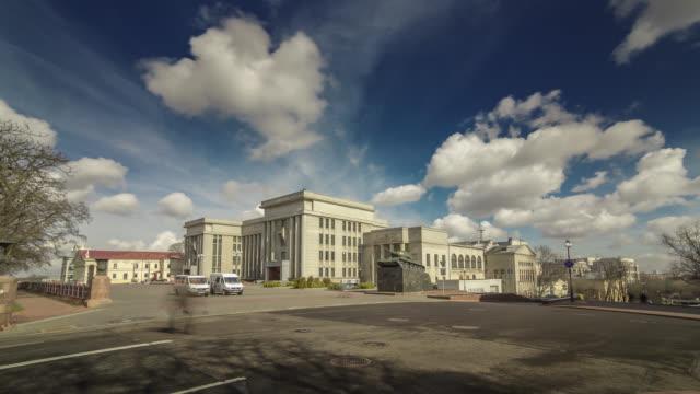 Hyperlapse of the Officer's Central Hall of Minsk city, Belarus.