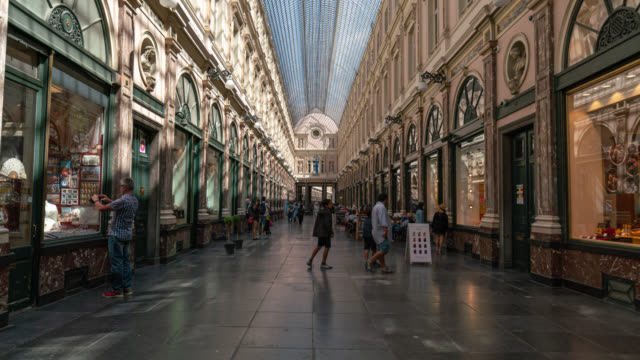 hyperlapse of the royal gallery of saint hubert in brussels - brussels capital region stock videos & royalty-free footage
