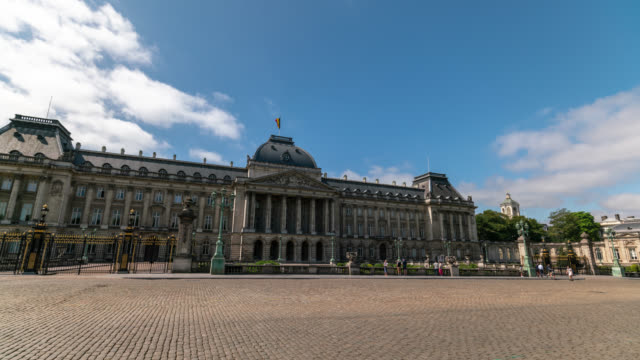 hyperlapse of the royal palace in brussels - belgium stock videos & royalty-free footage