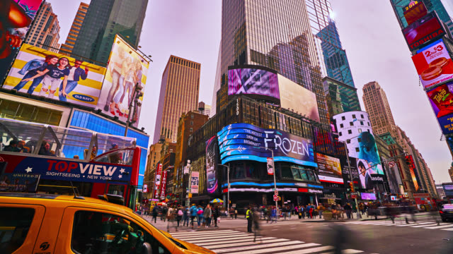 hyperlapse of time square. - digital signage stock videos and b-roll footage