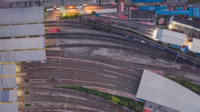 hyperlapse of train aerial view - railway station stock videos & royalty-free footage
