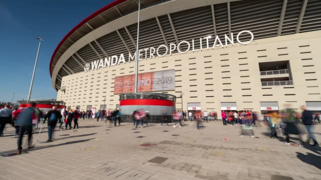 Hyperlapse of Wanda Metropolitano Stadium before a match