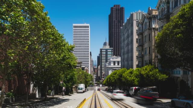 hyperlapse on california street in the san francisco financial district - カリフォルニアストリート点の映像素材/bロール