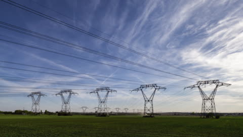 tl / hyperlapse on road along power lines - high voltage sign stock videos & royalty-free footage