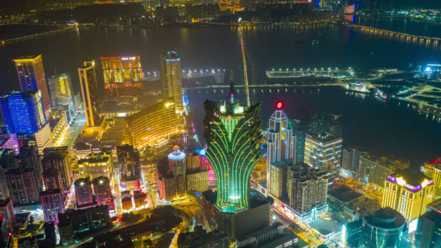 hyperlapse or dronelapse aerial view of macau cityscape and skyscraper in macau city near hong kong island, china at night - macao stock videos & royalty-free footage