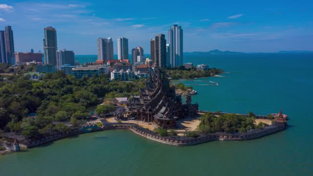 hyperlapse or dronelapse aerial view of pattaya beach in pattaya city, chonburi province near bangkok, thailand - chonburi province stock videos & royalty-free footage