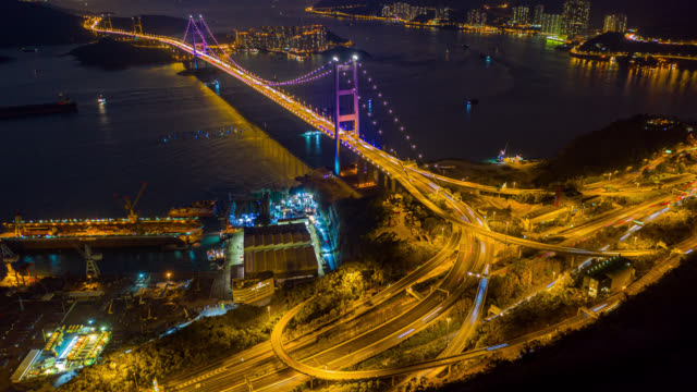 hyperlapse or dronelapse aerial view of traffic of car at tsing ma bridge in tsing yi area of hong kong at sunset. day to night timelapse - day to sunset stock videos & royalty-free footage