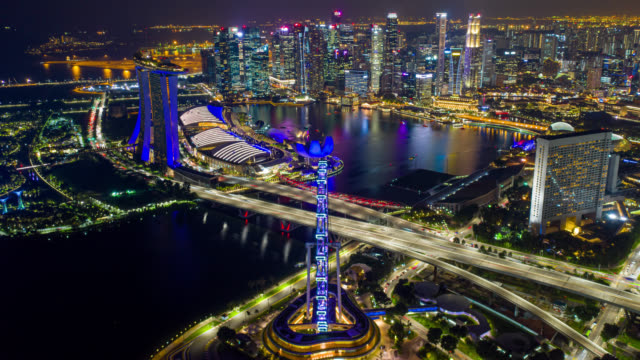 hyperlapse or dronelapse scene of singapore business district downtown at night - singapore stock videos & royalty-free footage